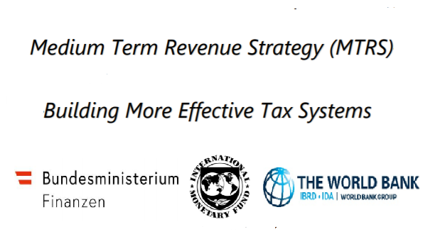 Cover Image for the IMF Confernece on Medium Term Revenue Strategy - Building More Effective Tax Systems with logos of Ministry of Finance of Austria, IMF and the World Bank